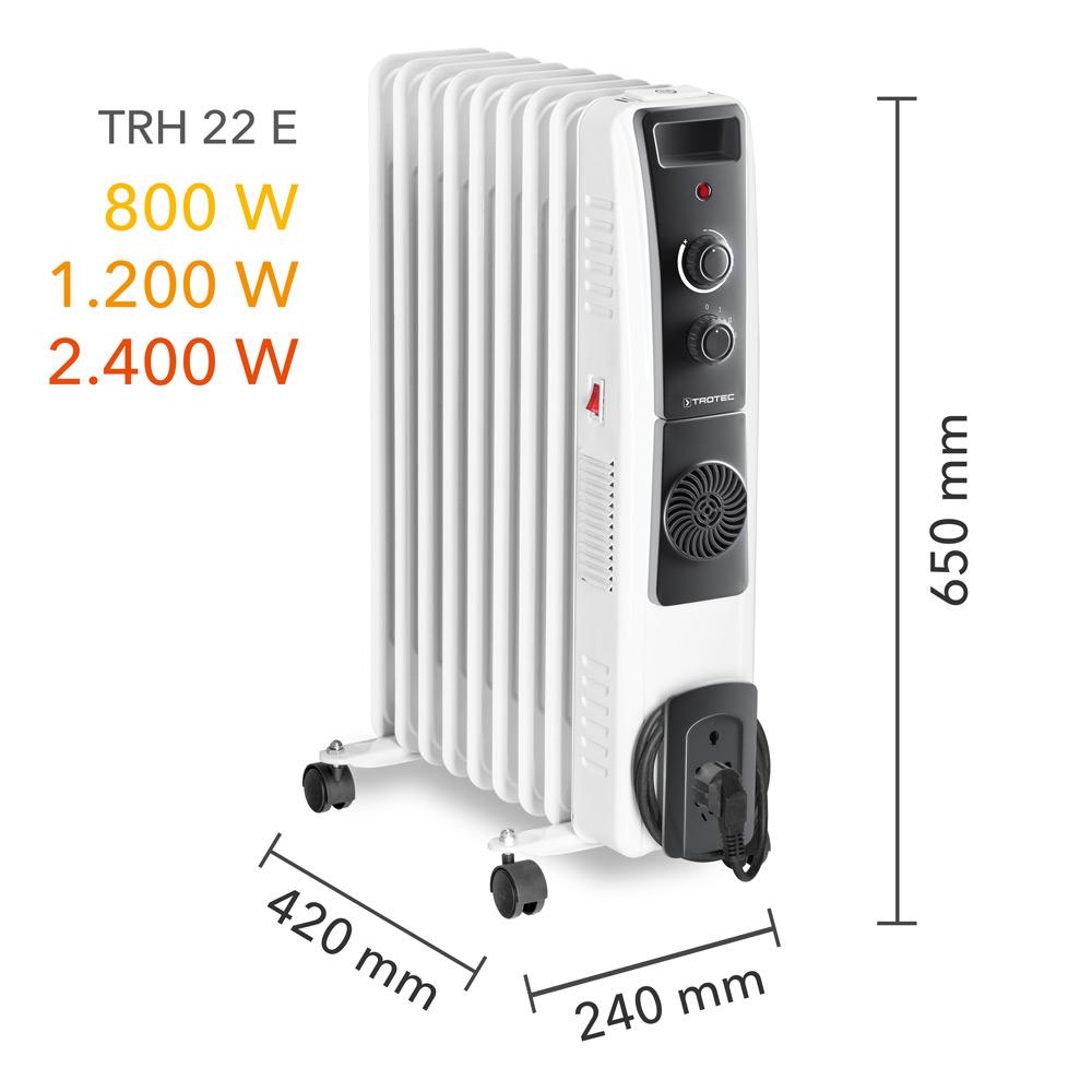 Масляный радиатор TRH 22 E - размеры