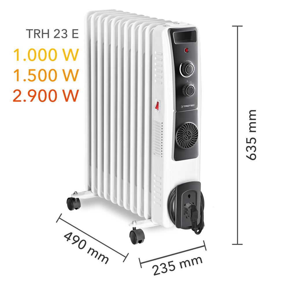 Масляный радиатор TRH 23 E - размеры