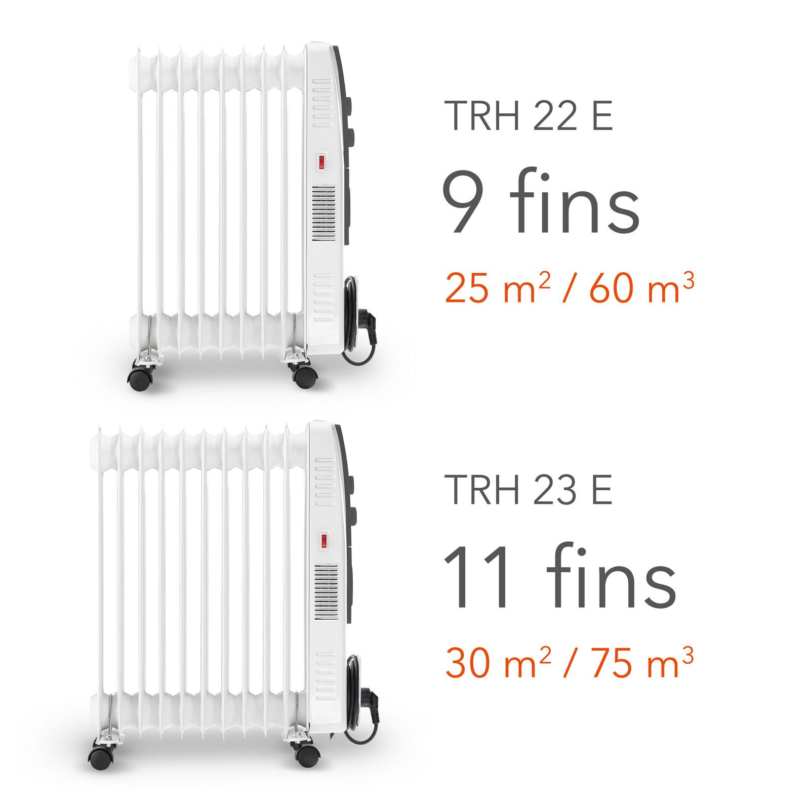 Масляные радиаторы TRH 22 E / TRH 23 E - количество ребер